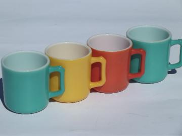 Retro colors kitchen glass coffee cups, vintage fired on color platonite