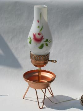 Retro copper tripod table lamp, vintage painted glass shade