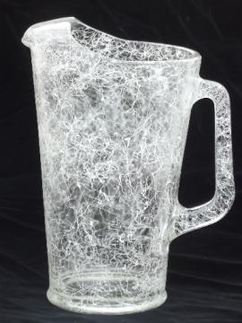 Retro crazy string drizzle glass pitcher, mid-century modern vintage