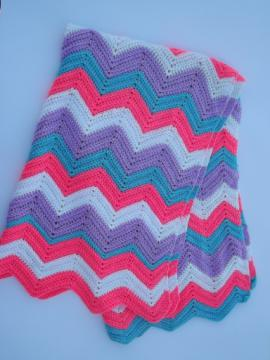 Retro crochet afghan blanket, chevron stripes neon pink, blue, lavender