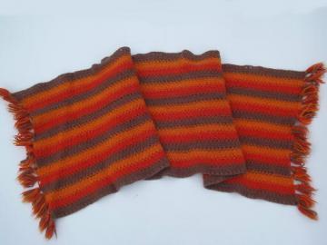 Retro crochet rug - brown, tomato red, orange felted wool w/ fringe