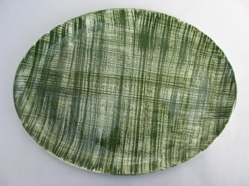 Retro cross-hatch green plaid pattern Stetson pottery platter