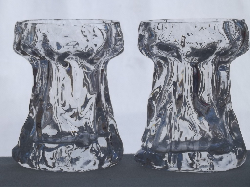Retro Crystal Ice Glass Vases Scandinavian Modern Vintage Art Glass