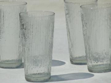 Retro crystal ice textured glass drinking glasses, tall  cooler / iced teas