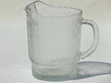 Retro crystal ice textured glass pitcher, vintage Indiana glass