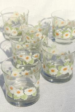 retro daisies vintage glass tumblers, old fashioned lowball drinking glasses daisy print