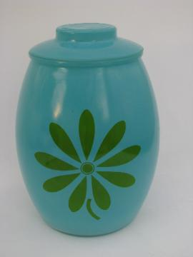 Retro daisy flower glass cookie jar kitchen canister, aqua w/ green