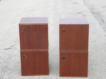 Retro danish modern teak cubist  modular storage cabinets, vintage Japan
