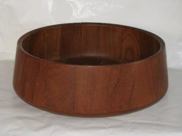 Retro danish modern vintage teak stave wood bowl, large mod shape