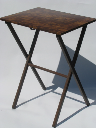 Beautiful Retro Danish Modern Vintage TV Tray Tables W/ Stand Wood Blocks Laminate