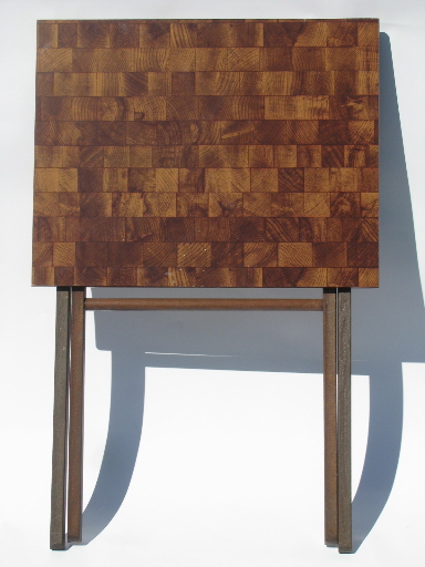 Retro Danish Modern Vintage TV Tray Tables W/ Stand Wood Blocks Laminate
