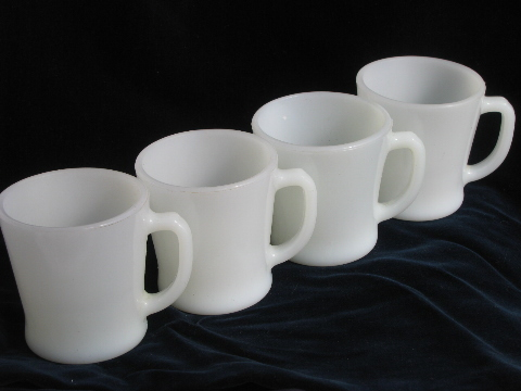 Retro diner style coffee cups, set of 4 vintage Fire-King milk glass ...