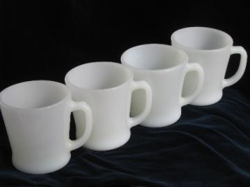 Retro diner style coffee cups, set of 4 vintage Fire-King milk glass mugs