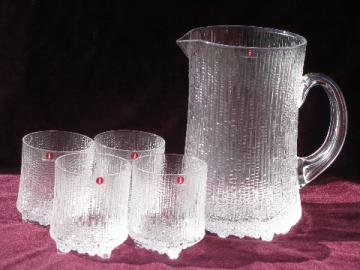 Retro drinks set, mod textured glass pitcher and glasses, Finland labels