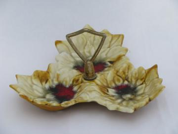 Retro drip glaze leaf shaped tidbit tray w/ center handle, vintage California pottery