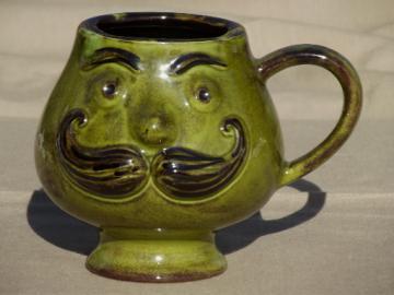 Retro face w/ mustache mug,  60s vintage mustache cup w/ Victorian gent