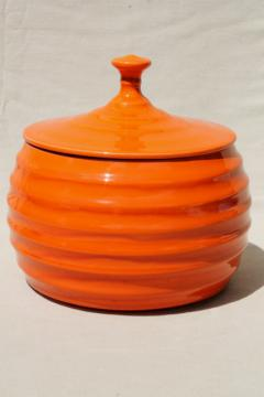 retro fiesta orange vintage handmade ceramic cookie jar, ring ware beehive shape canister