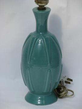 Retro fiesta turquoise vintage pottery table lamp, cute small size!