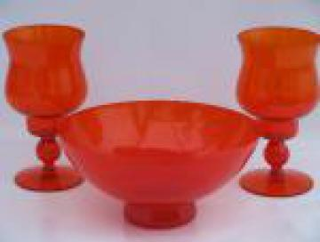 Retro flame orange glass console bowl and candle holders, 60s danish mod
