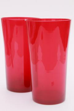 retro flame red hand blown glass tumbler vases, mod vintage art glass
