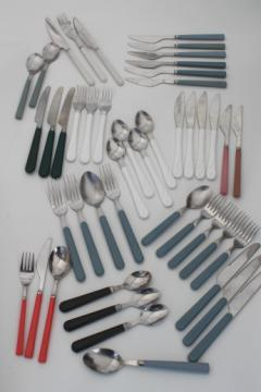 Retro flatware with colored plastic handles, 80s vintage silverware lot