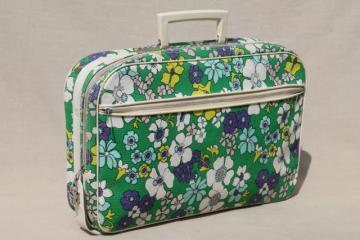 retro flower power print fabric suitcase, 70s vintage soft sided bag locking briefcase