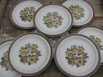 Retro flowers Sierra Blossoms vintage Japan stoneware pottery plates