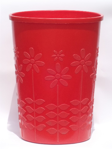 Retro flowers trash can huge vintage plastic wastebasket in tomato red - Rd wastebasket ...