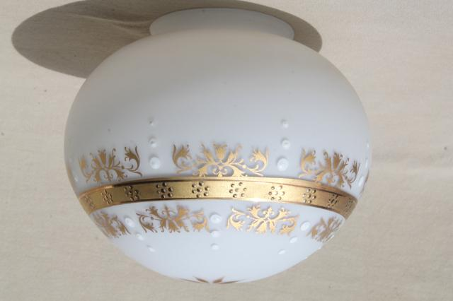 retro frosted glass mushroom globe shades, vintage glass lampshades white w/ gold