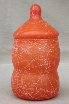 Retro genie bottle candy jar, 60s vintage orange & white drizzle string glass