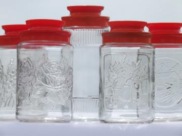 Retro glass canister jars w/ orange lids, Maxwell House coffee canisters
