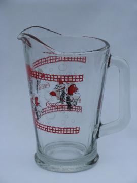 Retro glass Coca Cola pitcher, Coke & barbeque theme!