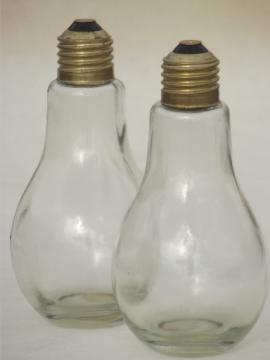 Retro glass light bulb salt & pepper shakers set, steampunk style S&P!