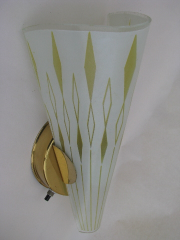 Retro Glass Slip Shade Light Wall Sconce Lamps Pair Of