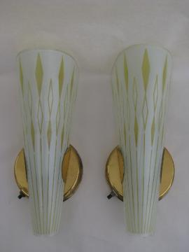 Retro glass slip shade light wall sconce lamps, pair of 60s mod vintage sconces