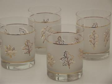 Retro gold leaf rocks glasses, 60s 70s vintage double old fashioned glasses