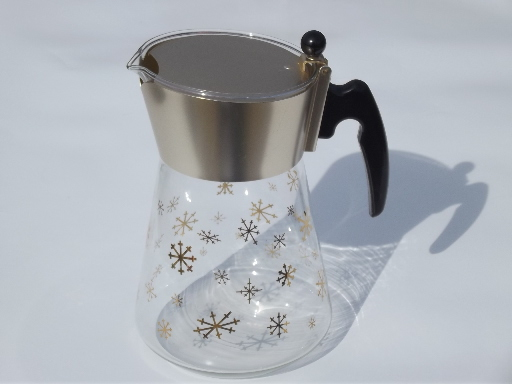 Retro gold starburst snowflake heat proof glass carafe, 60s vintage