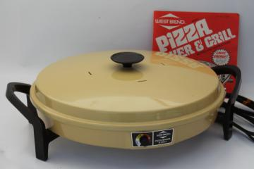 Retro gold West Bend electric Pizza Baker & Grill, non-stick skillet pan w/ manual