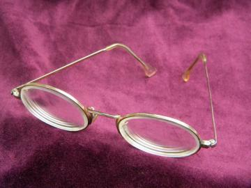 Retro gold windsor wire rimmed Shuron eyeglasses frames, Lennon vintage