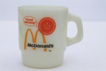 Retro Good Morning - McDonald's coffee mug, vintage Fire-King glass cup