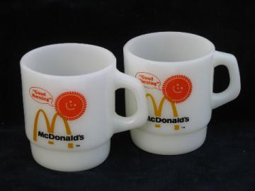 Retro Good Morning - McDonald's coffee mugs, vintage Fire-King glass cups