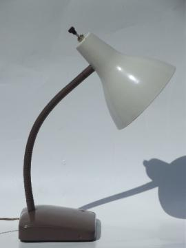 Retro goose neck desk lamp or wall sconce, mod shade, 1960s vintage