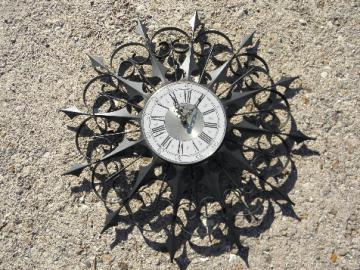 Retro gothic black iron wall clock, mid-century modern vintage starburst