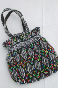 Retro granny purse drawstring bag, 70s vintage plastic beaded handbag