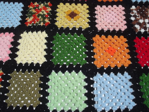 Retro granny squares crochet afghan, black & bright patchwork blanket