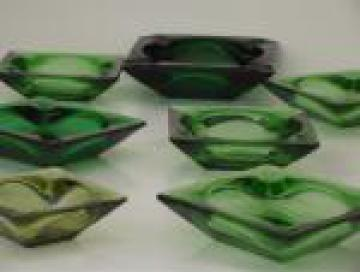 Retro green glass ashtrays lot, assorted vintage square glass ash trays