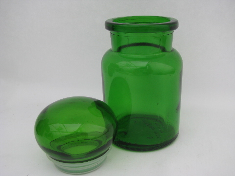 glass kitchen canisters airtight retro green glass