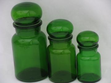 Retro green glass kitchen canisters, airtight seal canister jars set