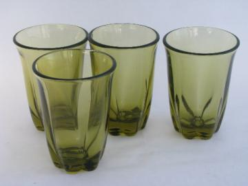 Retro green glass tumblers, vintage Tiffin / Duncan & Miller Canterbury pattern