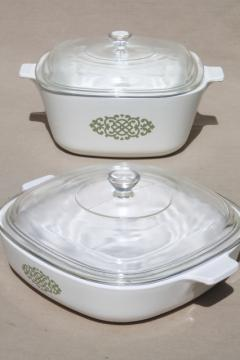 retro green medallion Corning Ware casserole lot baking dishes, pans w/ clear glass lids